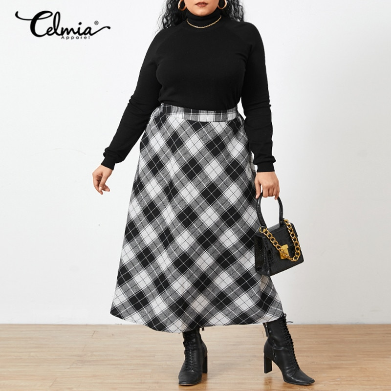 Fashion Casual Loose Party Skirt Office Checked Long Skirt Plus Size Vintage Women Plaid Maxi Skirts 2021 Autumn Celmia Pocket