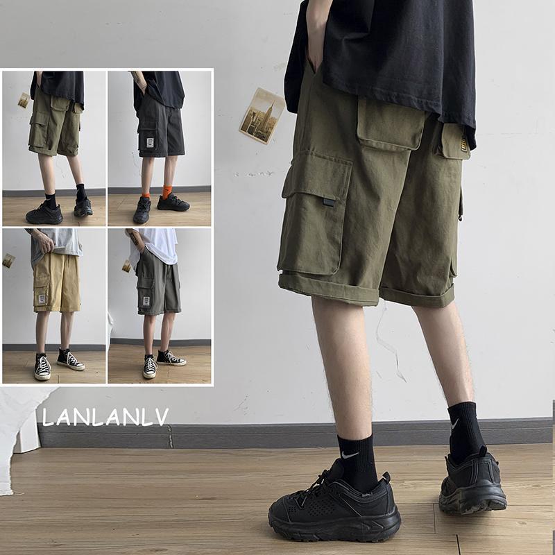 Шорты-карго большого размера, мужские летние свободные спортивные штаны из дикой природы, модные прямые повседневные брюки, мужские шорты, ...