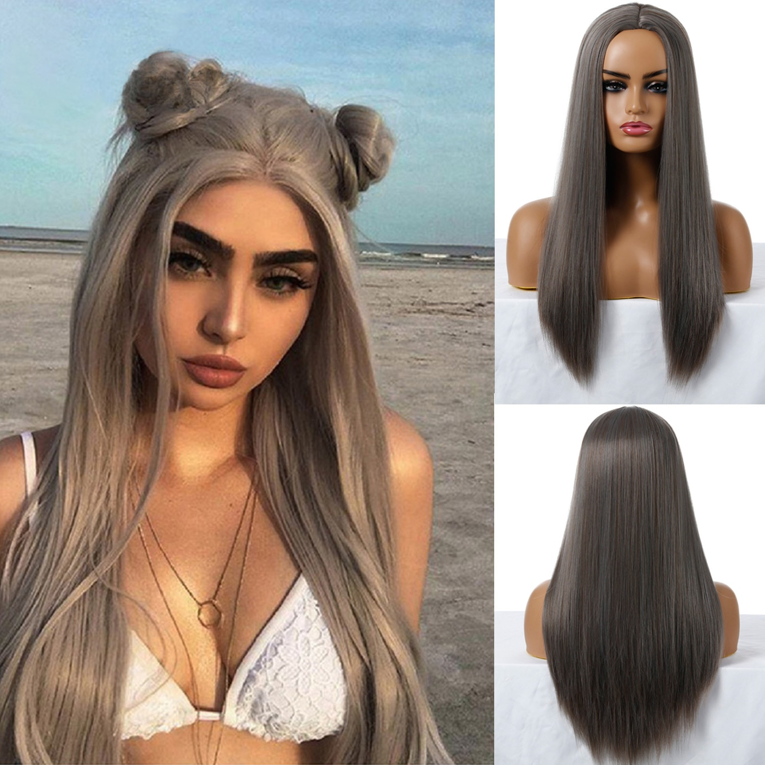 Synthetic Wigs for Women 13 Colour Long Straight Silky Wig Black Golden Natural Middle Party Daily Use Heat Resistant Fiber
