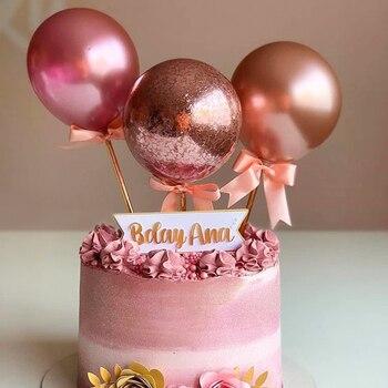 Розовое золото мини воздушный шар торт Топпер металлический баллон лечения детей день рождения украшения или украшения для свадебного тор...