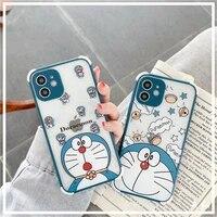 doraemon cute cartoon transparent phone case for iphone 12mini12promax11pro118pxxsxrsexsmax78secouple phone cover
