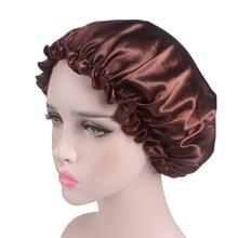 Women Sleep Night Cap Solid Color Ladies 1PC Night Sleep Hat Long Hair Care Chemo Cap Satin Lace Bon