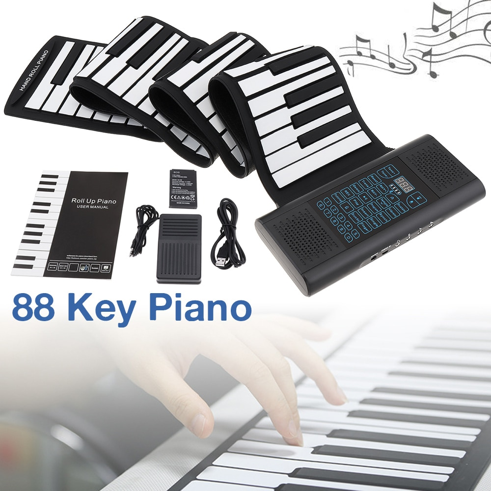 88 Keys Roll Up Electronic Piano Rechargeable Silicone Flexible Keyboard Organ Built-in 2 Speakers Support Bluetooth-compatible
