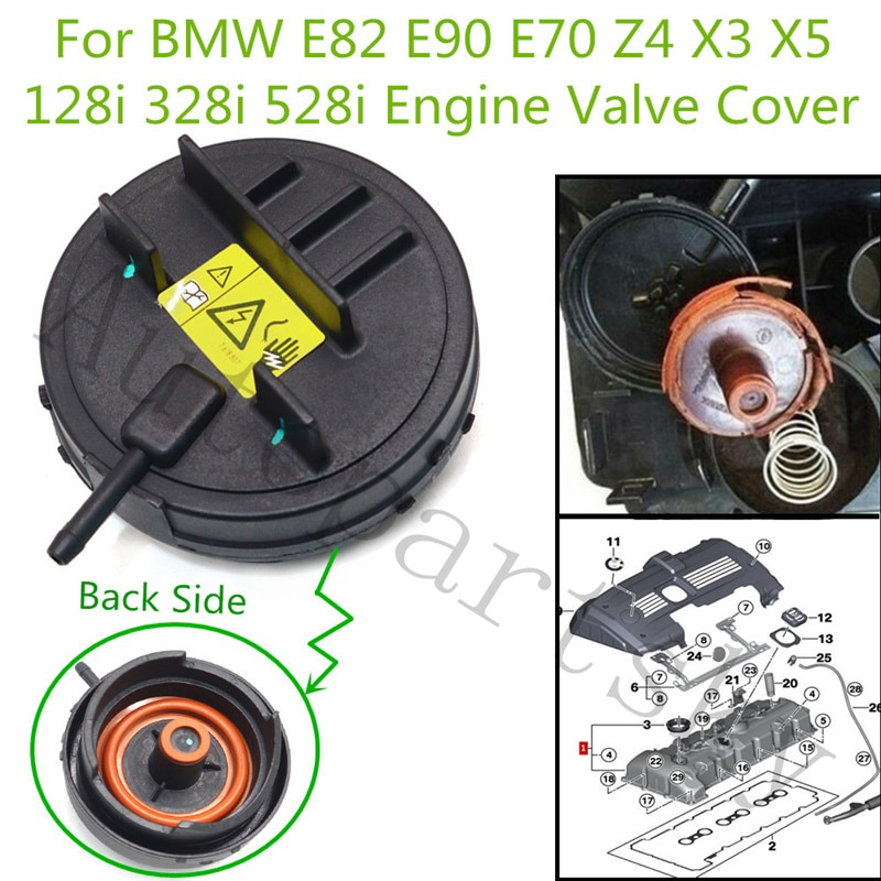 11127552281 11-12-7-552-281 Cabeça Da Válvula PCV Engenheiro Capa para BMW E60 E65 E66 e70 E83 E88 E91 F10 N52 128i 328i 528i X3 X5 Z4