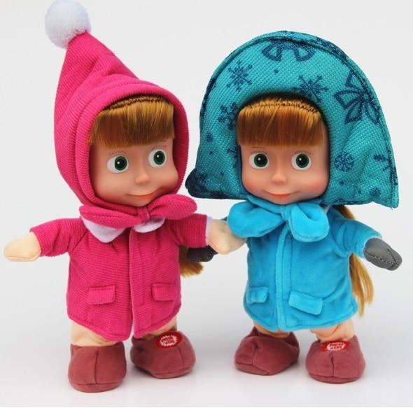 Masha y oso ruso Masha ojo grande y oso de peluche, juguetes bonitos con relleno para niños, regalos de cumpleaños y Navidad 27CM