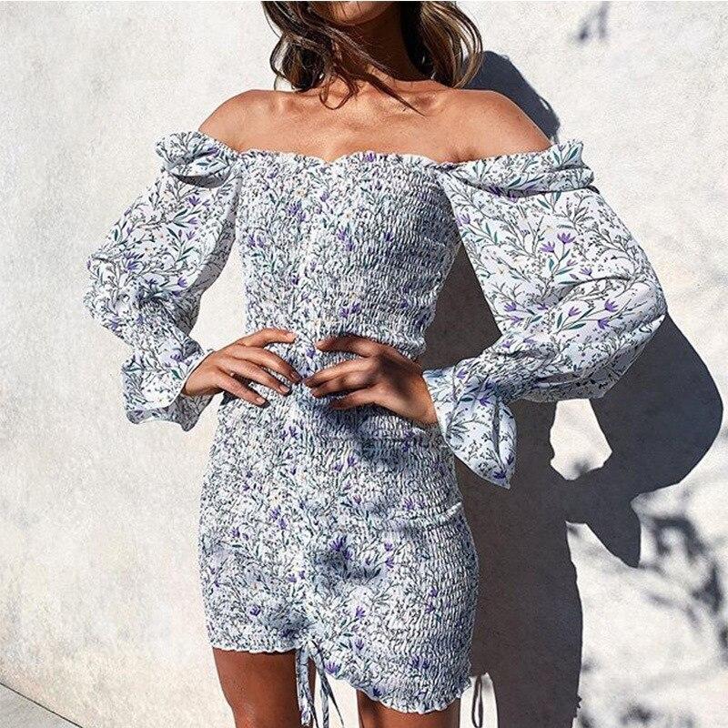 2020 модное платье с квадратным вырезом и цветочным принтом, женское облегающее мини-платье с длинным рукавом, Пляжное Платье в стиле бохо, од...