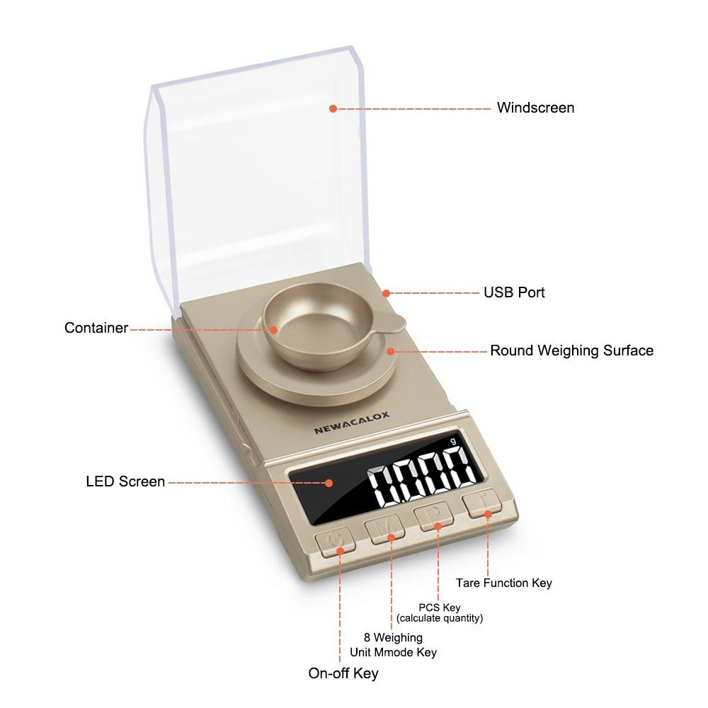 Весы NEWACALOX цифровые для ювелирных изделий, 50/0,001/100 г, USB-1
