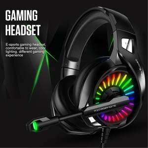 Wired Gaming Headset for Computer PS4 Led Light Gaming Headsets with Mic Adjustable Bass Stereo