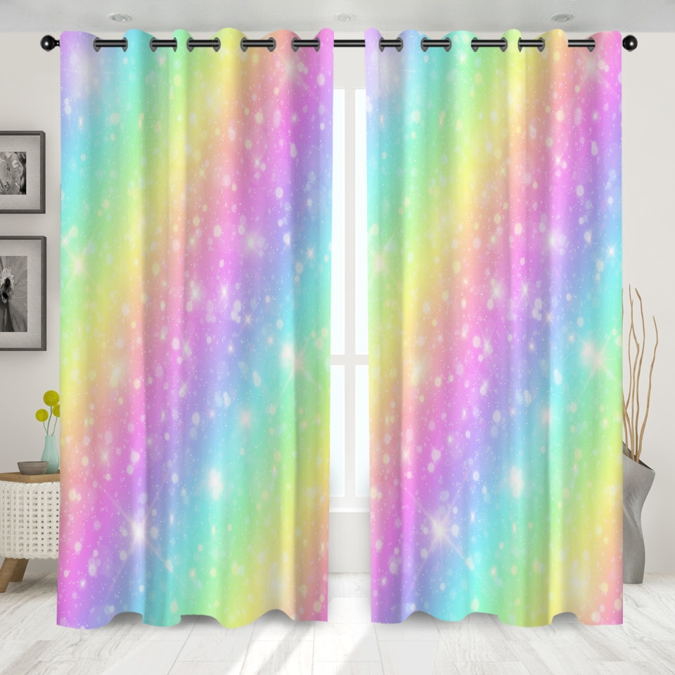 SOFTBATF, cortinas para ventanas de arco iris, oscurecedor para sala de estar, dormitorio, cortinas de cocina decorativas, Dropshipping