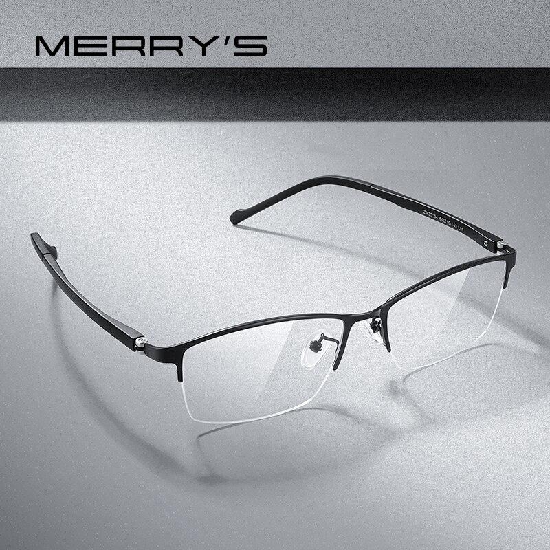MERRYS projekt mężczyźni tytanu okulary z lekkiego stopu ramki krótkowzroczność okulary korekcyjne biznes oprawki optyczne TR90 nogi S2204