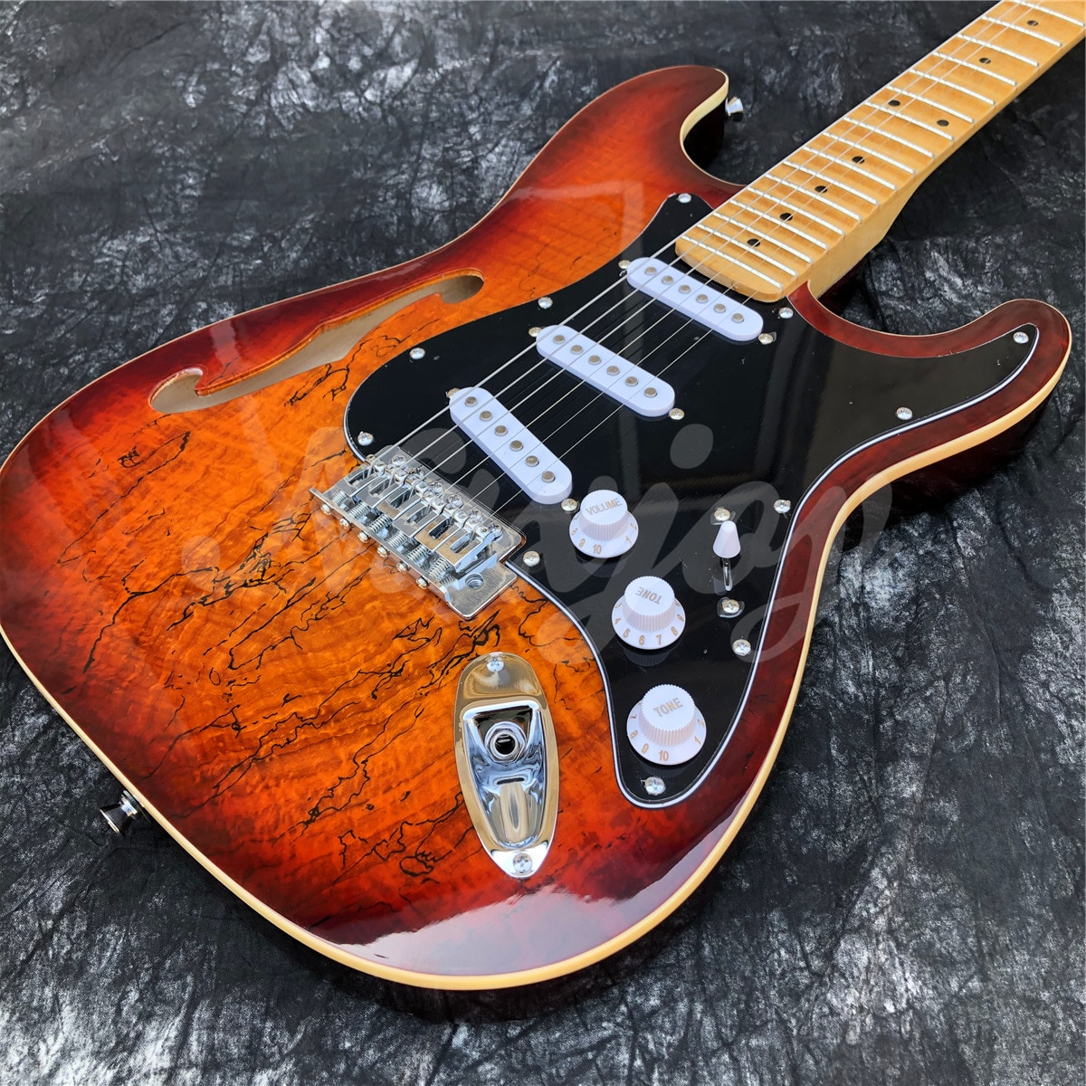 Sunset Color 6 Strings F Holes Maple Fingerboard ST Electric Guitar,Real Photos,Free Shipping enlarge