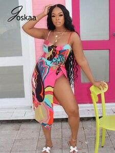 Joskaa Printed Swimsuit For Women Beachwear Summer Skinny Bandage Sleeveless Bathing Outwear Sexy Swimwear 2021 Outfits Clothes