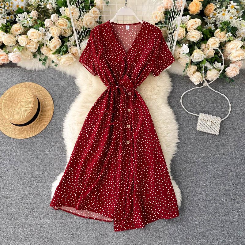 2020 coreano rojo elegante vestido sexy mujer verano playa cuello pico lunares midi vestido ceñido en la cintura split vestido vestidos de fiesta ropa