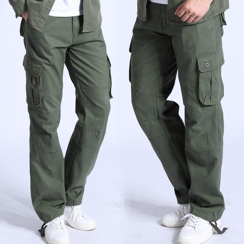 Брюки-карго мужские с карманами, модные повседневные тактические штаны в стиле милитари, хлопковые армейские штаны, 6 карманов, весна