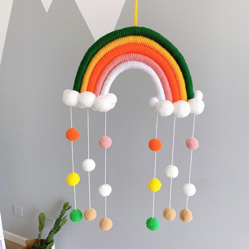 Niños Nursey habitación hecha a mano de algodón tejido nube de arco iris con pompones bolas colgante de pared Decoratiove ornamento suministros M
