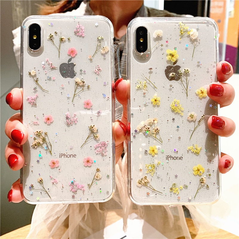 Real Dry Flower Glitter Clear Case For iPhone 8 7 Plus 6 6s Epoxy Star Transparent Case For iPhone X