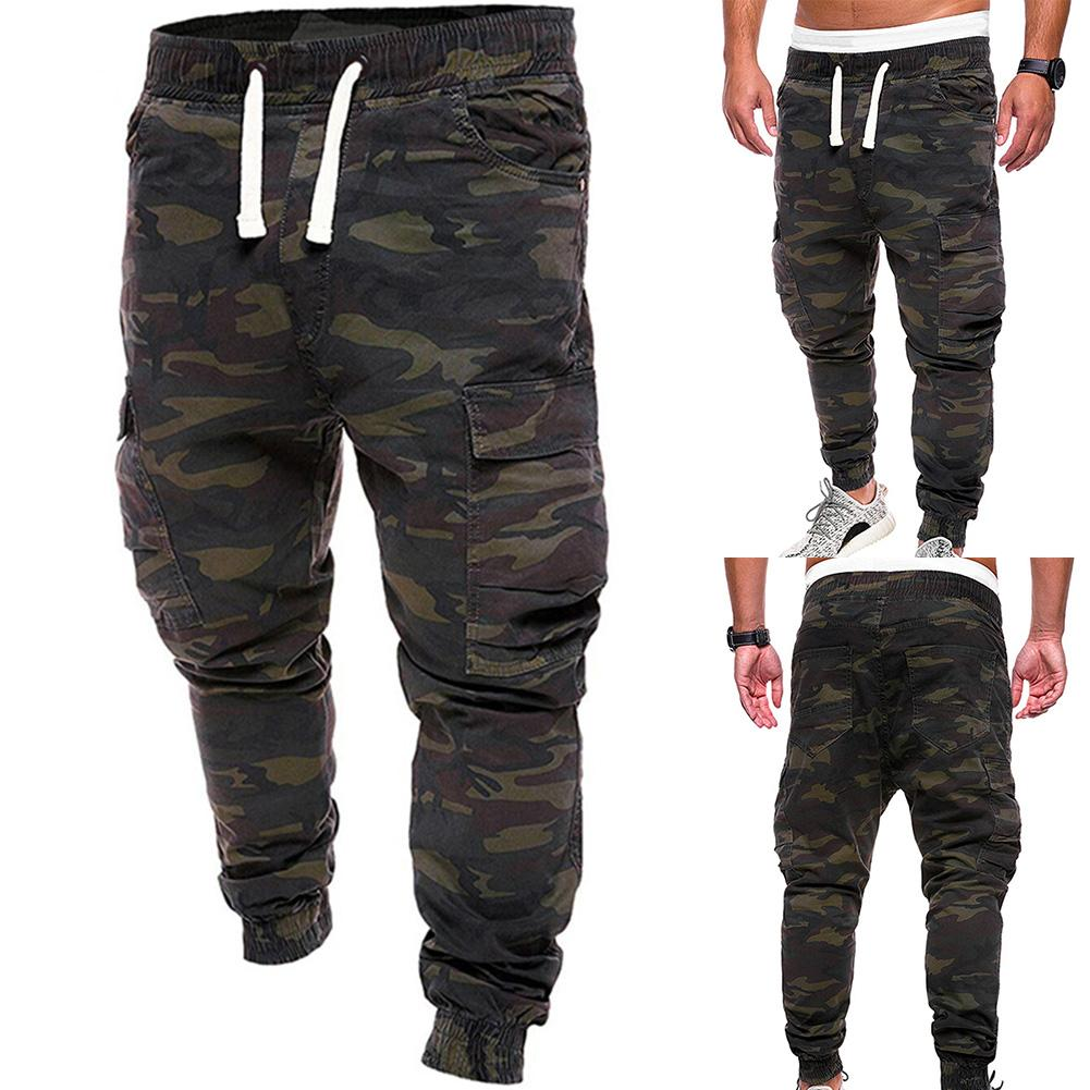 Plus Size 4XL Men Military Camouflage Print Trousers Multi Pockets Cargo Jog Pants Sportswear Cargo Sweatpants Male