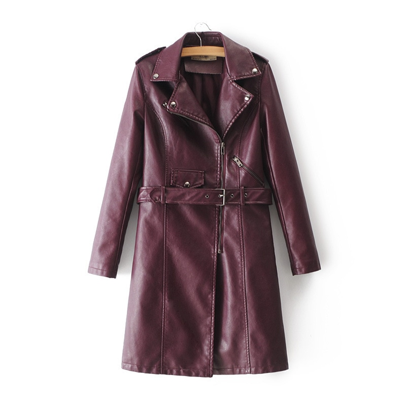 2021 Spring Oversized Coat Korean Streetwear Turndown Collar Belt Bomber Parkas Wine Slimming PU Moto Locomotive Leather Zipper