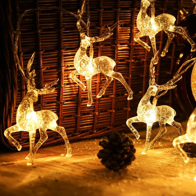 Новогодняя 2022 гирлянда с оленями, светодиодные огни, Рождественское украшение для дома, гирлянда с оленями, гирлянда с оленями, рождественс...