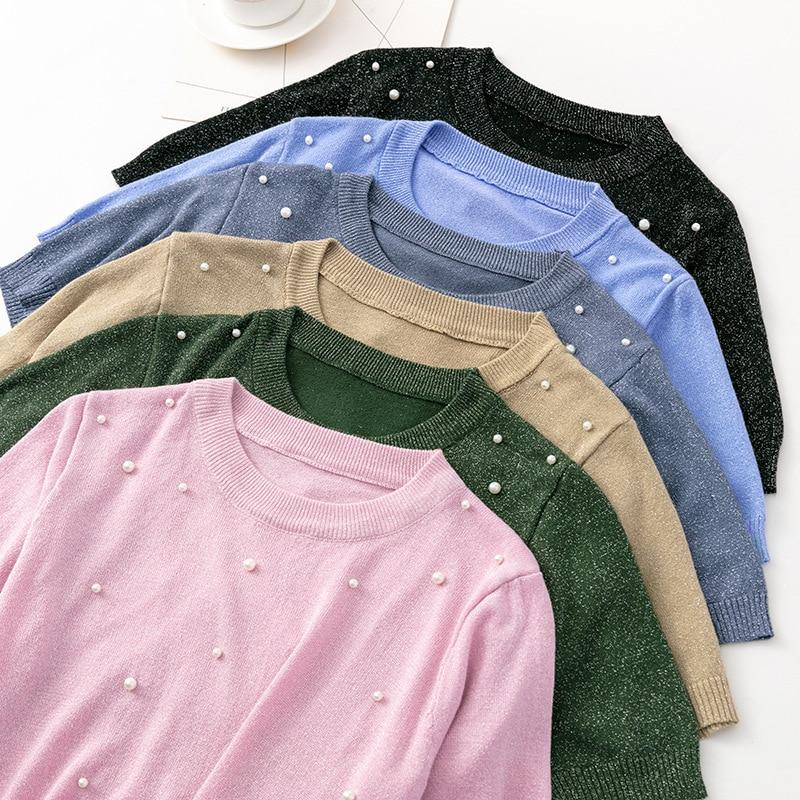 Camisetas De Lurex brillantes para mujer, remera básica ajustada con pedrería, playera...