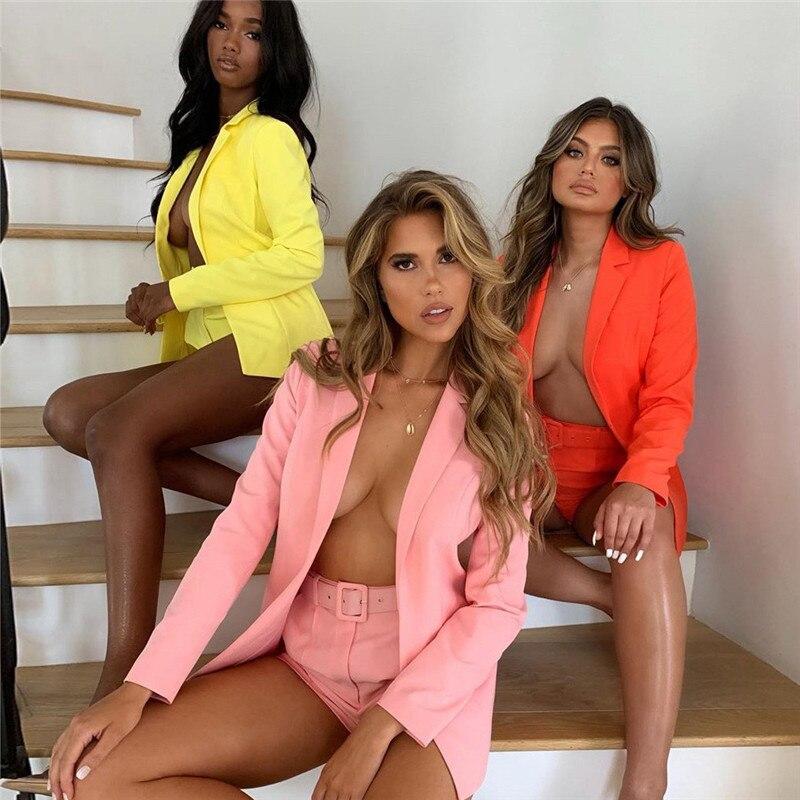 ins chic 2 piece set women's suit elegant Notched jacket Blazer casual loose 2019 autumn new high wa