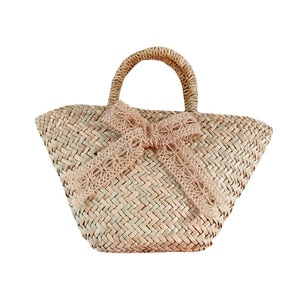 Lace Ribbon Bow Straw Bag Women Straw Woven Shoulder Bags Big Hand-woven Beach Bag Straw's Women Top-handle Handbags Summer 2020