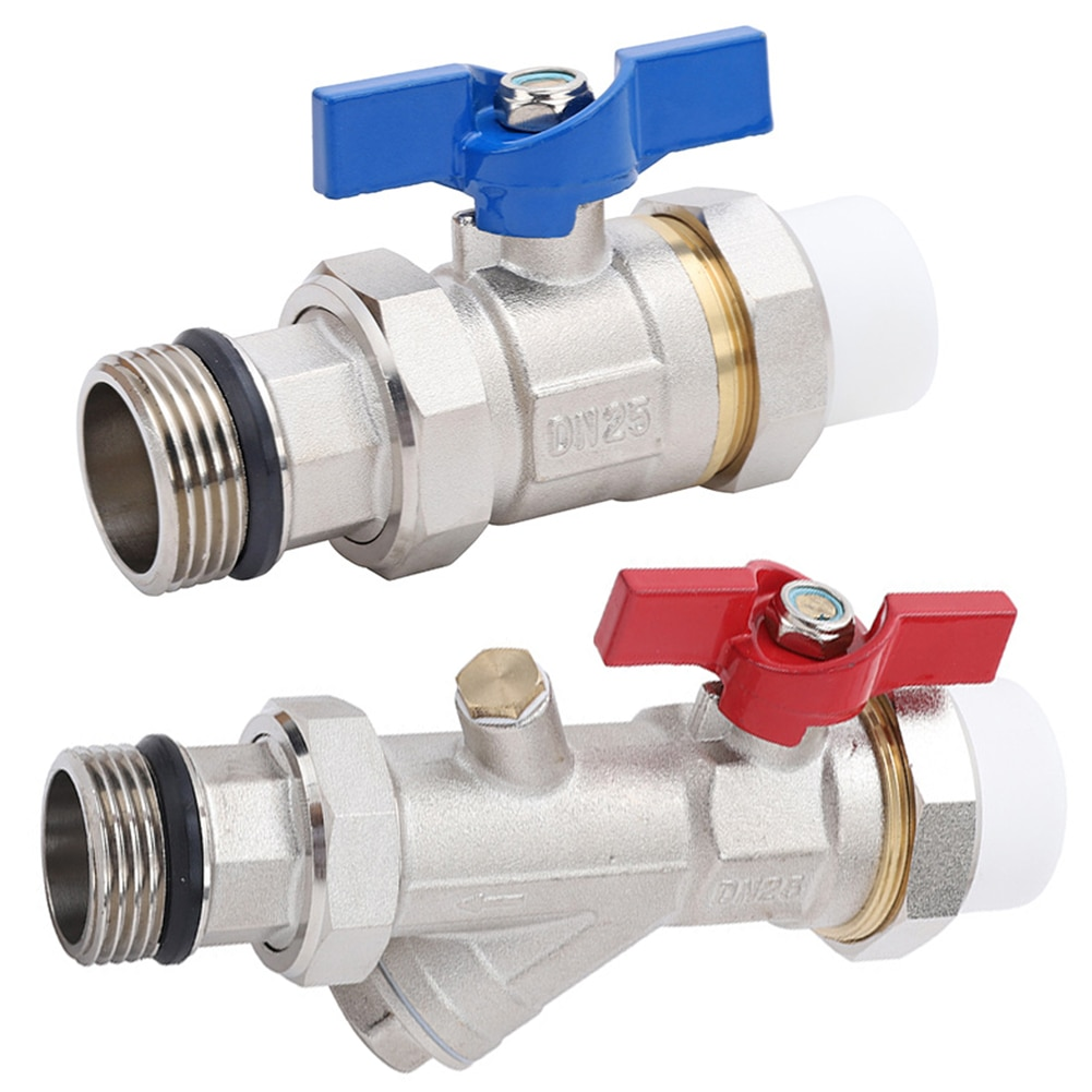 2pcs new mini ball valve brass 1 2inch npt female male thread with aluminium switch handle for air liquid water shut off valves Full Port Ball Valve Brass DN25 Male Female Threaded Filter Connector Pipe Fitting 2PCS Shut Off  High Quality Valves Wire Brass