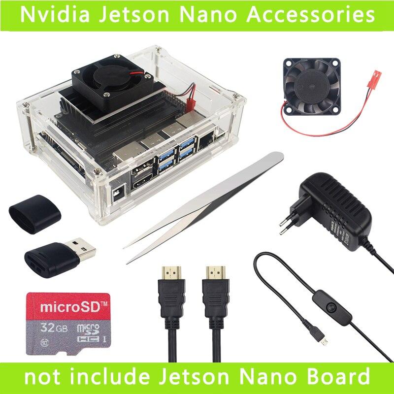 Caja de acrílico transparente para NVIDIA Jetson Nano Kit de desarrollador de caja protectora de la cáscara con ventilador de refrigeración enfriador