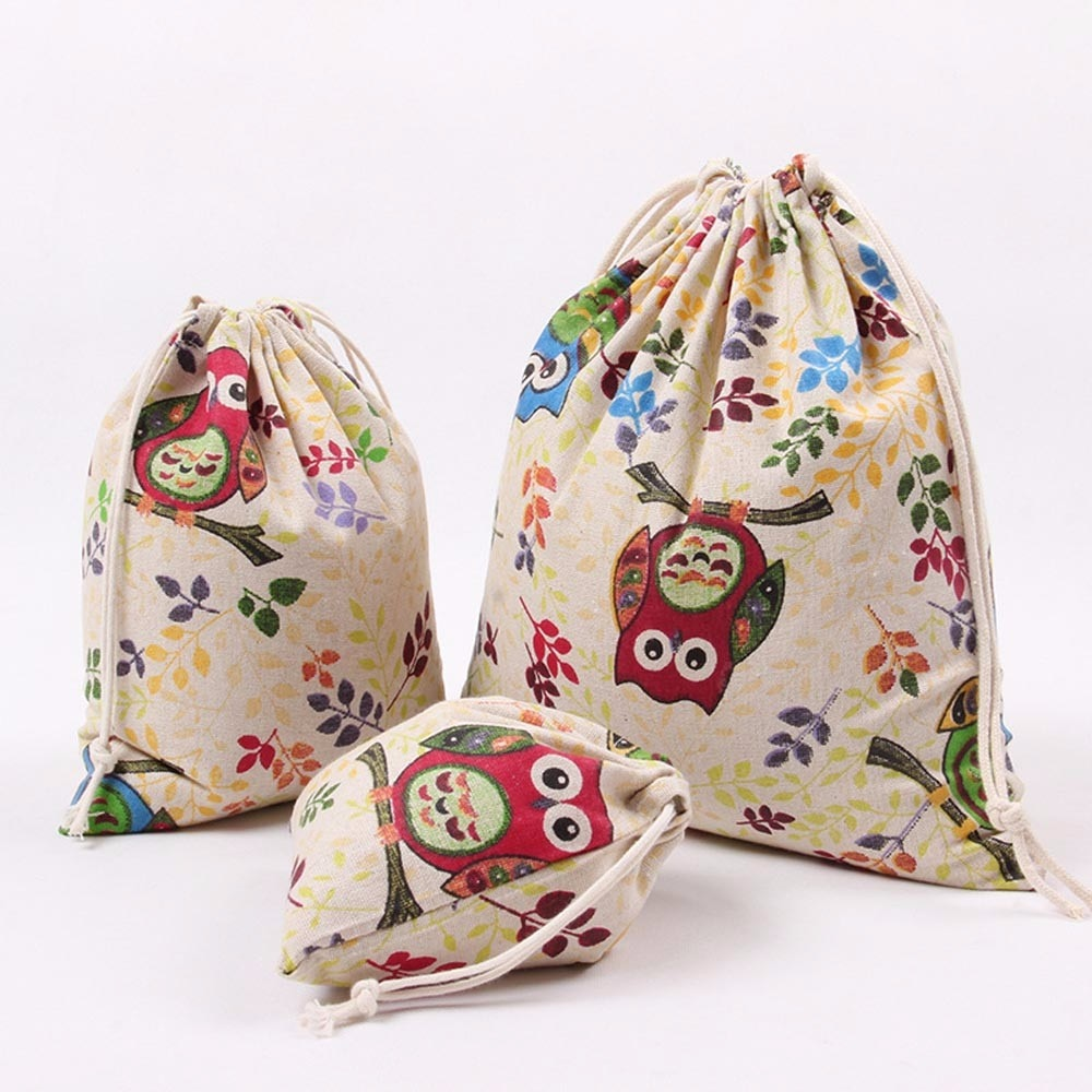 Fashion Women Owl Printing Drawstring Beam Port Storage Bag  Girl Cute Travel Bag Gift Bag Featured Organizer Shopping Bag