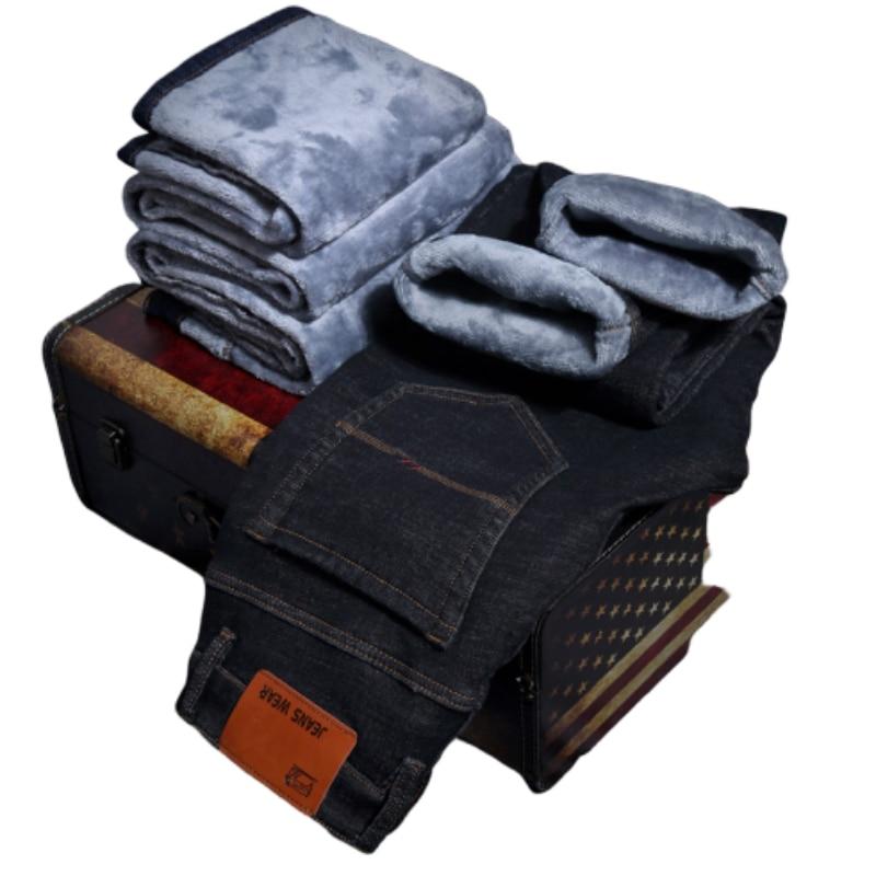 Мужские джинсы, зимние теплые флисовые мужские джинсы, толстые Стрейчевые джинсы, прямые мужские модные брендовые брюки для белья высокого ...