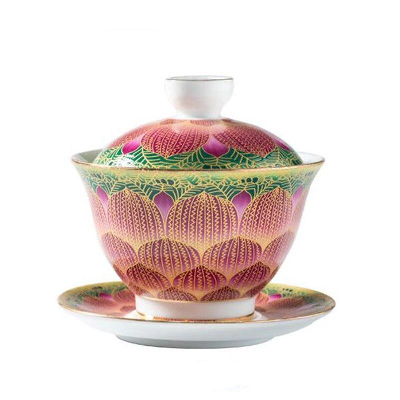 Gaiwan الخزف المينا اللون اليد رسمت السيراميك الشاي سلطانية 150 مللي Teaware ل بوير بوير الشاي وعاء كأس الصحن غطاء مجموعة Drinkware