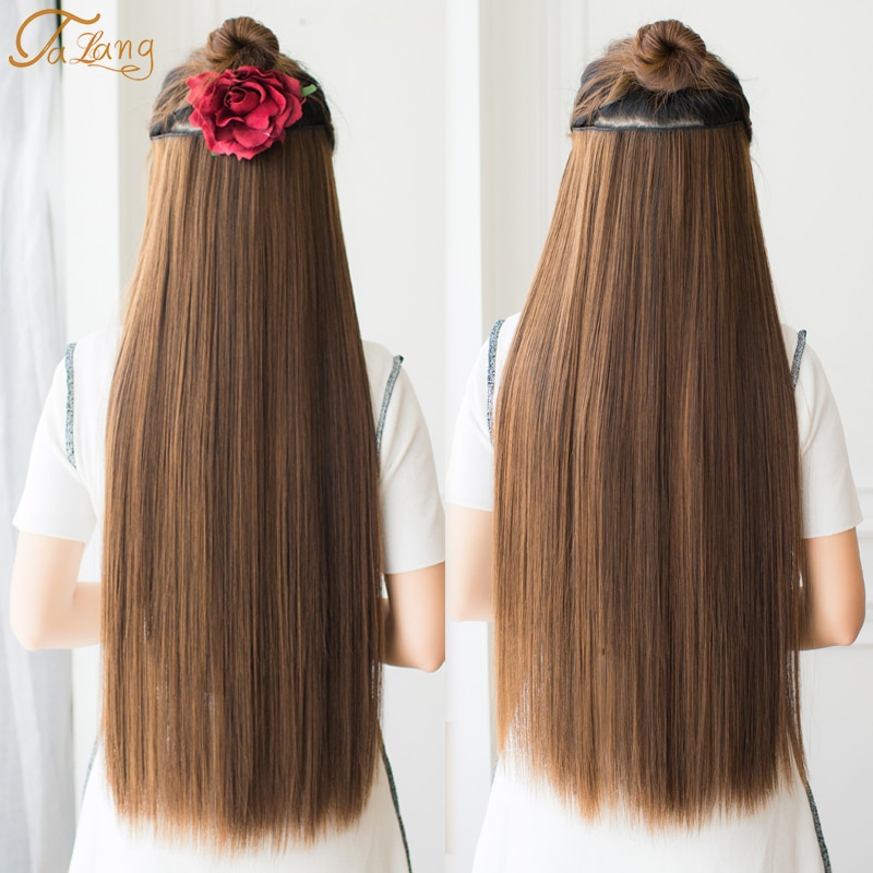 TALANG Long straight 5 Clip in Hair Extension Synthetic Long Straight Hairpiece high temperature fibert brown black women
