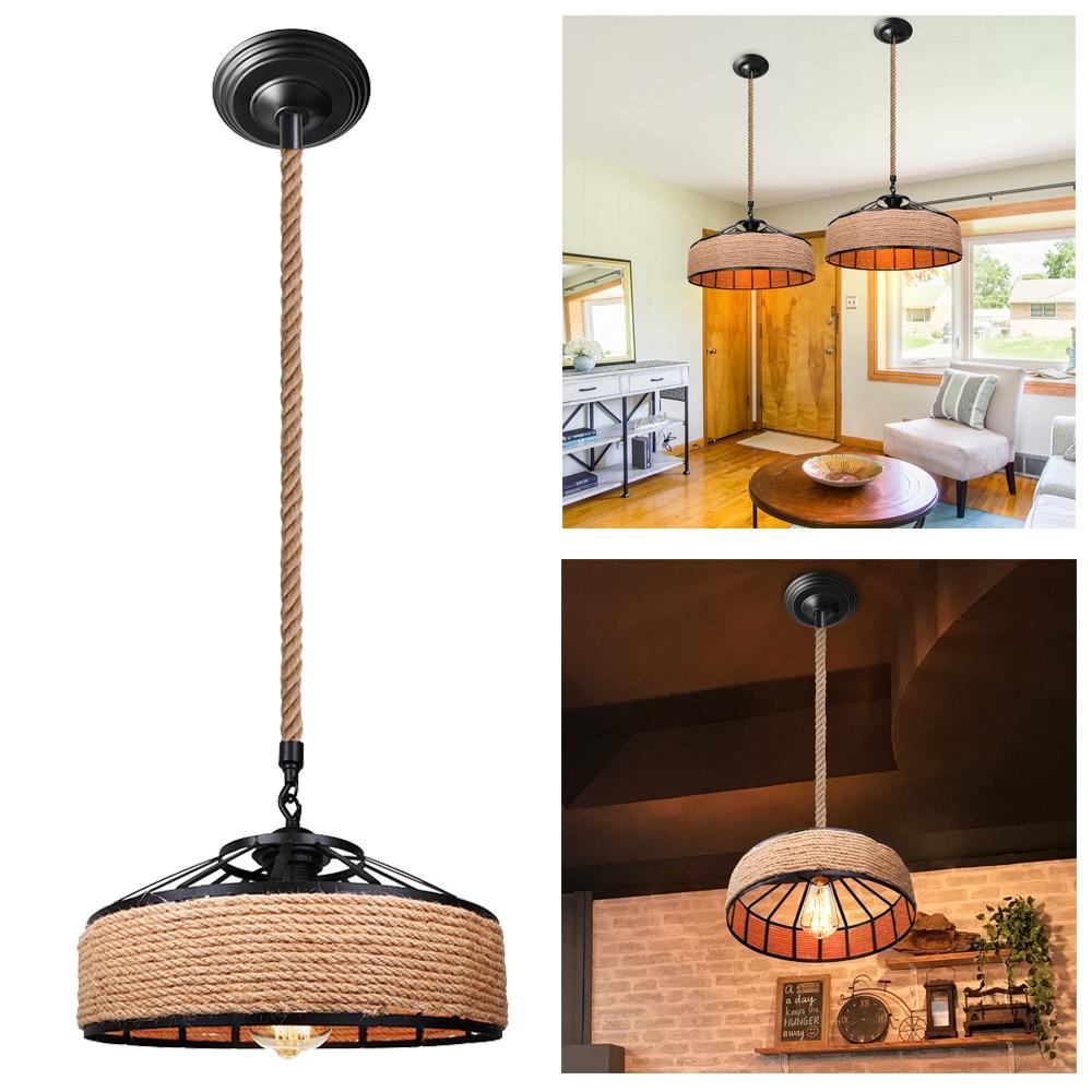 Lámpara colgante de cuerda de cáñamo E27, lámpara de estilo Vintage, lámpara de Loft, Retro, antiguo, Industrial, Bar, hogar, sala, cocina, pantalla decorativa