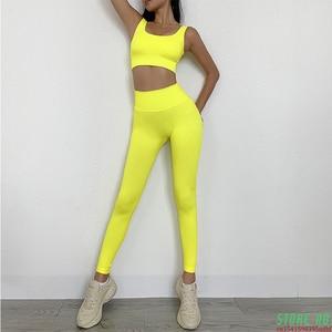 2 Pieces Seamless Fitness Women Yoga Suit Gym Push Up Clothes Workout Sport Set Padded Sports Bra High Waist Legging Sportswear