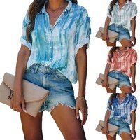 2021 spring and summer new womens printed button top chiffon shirt