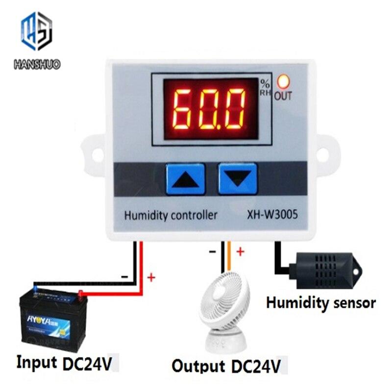 Controlador de humedad LED Digital interruptor de Control de humedad higrómetro hygrosat SHT20 Sensor de humedad XH-W3005 W3005 220V 12V 24V