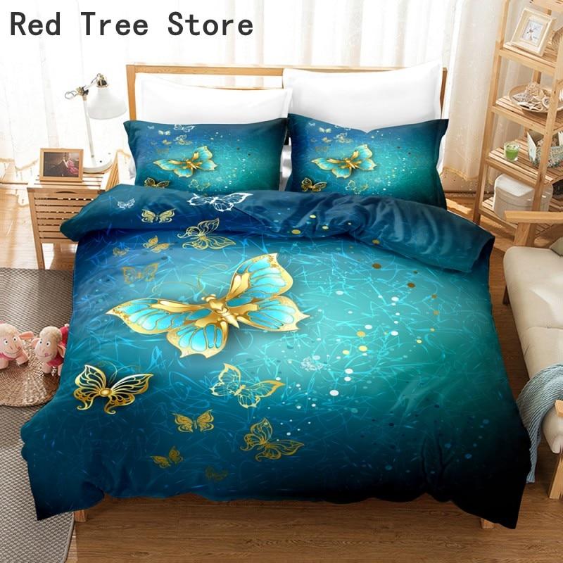 Butterfly Flower 3D Print Luxury Bedding Set Single Double Queen King Size Duvet Cover Pillowcase Sets 2/3pc Adult Home Textiles