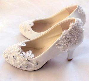 9CM white lace crystal wedding pumps shoes handmade plus size crystal silver rhinestones bridal brides platforms pumps shoes