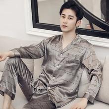 2020 Silk Pyjama Set Men Sleepwear Satin Pajamas Unit Autumn Spring Home Suit Printed Lounge Pants N