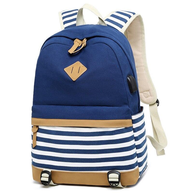 حقيبة من القماش النساء الحقائب المدرسية للفتيات سعة كبيرة USB تهمة محمول على ظهره حقيبة للسفر للمراهقين