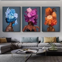 abstract colorful flower woman canvas painting girls portrait posters and prints cuadros wall art picture for living room decor