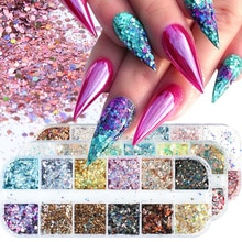12Grids Holographic Nail Glitter Sequin Nail Art Pigment Mirror/Mermaid/Sugar Round DIY Flake Paillette Nail Art Decorations