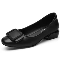 women classic light weight black comfort genuine leather slip on low square high heel shoes lady casual black heel pumps m0261