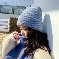 high quality winter hats for women cashmere beanies ladise knitted wool skullies cap angora pompom gorros cap thick and warm