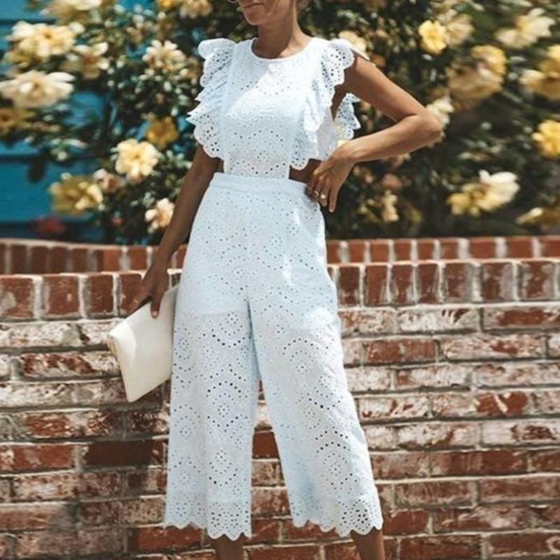 VICABO Women Jumpsuit White Elegant Sexy Hollow Wide Leg Ruffle Sleeveless Jumpsuits Women Summer Cl