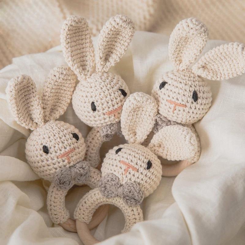 1 шт. детский музыкальный прорезыватель погремушка игрушка для детей деревянные игрушки мультяшный кролик связанная крючком погремушка пу...