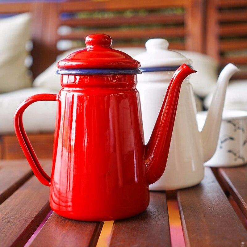وعاء قهوة مصنوع من المينا, سعة 1.1 لتر ، إبريق شاي يدوي ، غلاية شاي من المينا ، موقد غاز ، إبريق شاي مياه يدوي عالمي ، أدوات ديكور منزلي