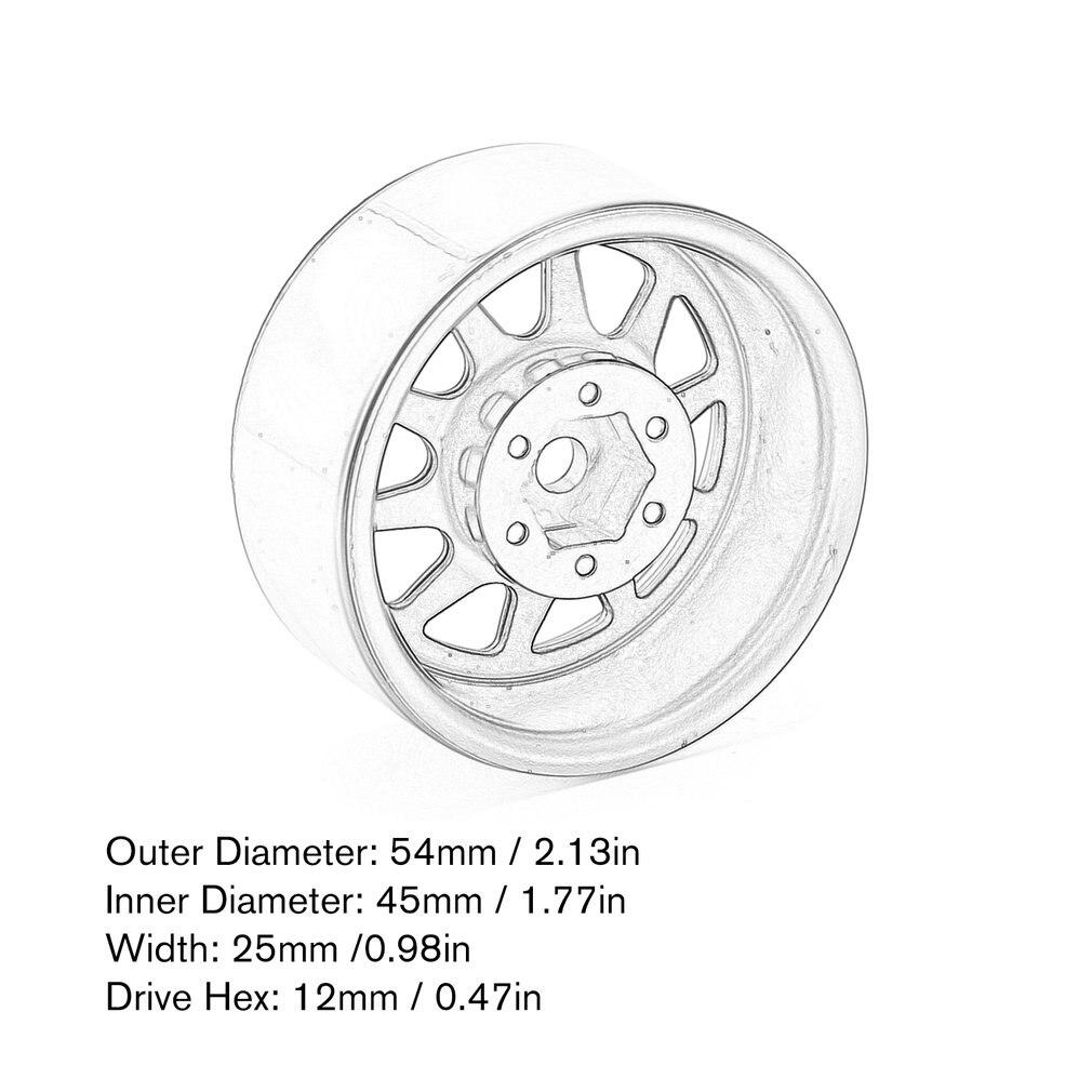 Metal Alloy 1.9Inch Beadlock Wheel Rims For 1/10 Rc Crawler Axial Scx10 90046 Traxxas Trx4 Redcat Gen8 Metal Lock Tire Wheel enlarge