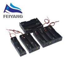 Plastic Standaard Aa/18650 Batterij Houder Box Case Zwart Met Wire Lead 3.7V/1.5V Clip