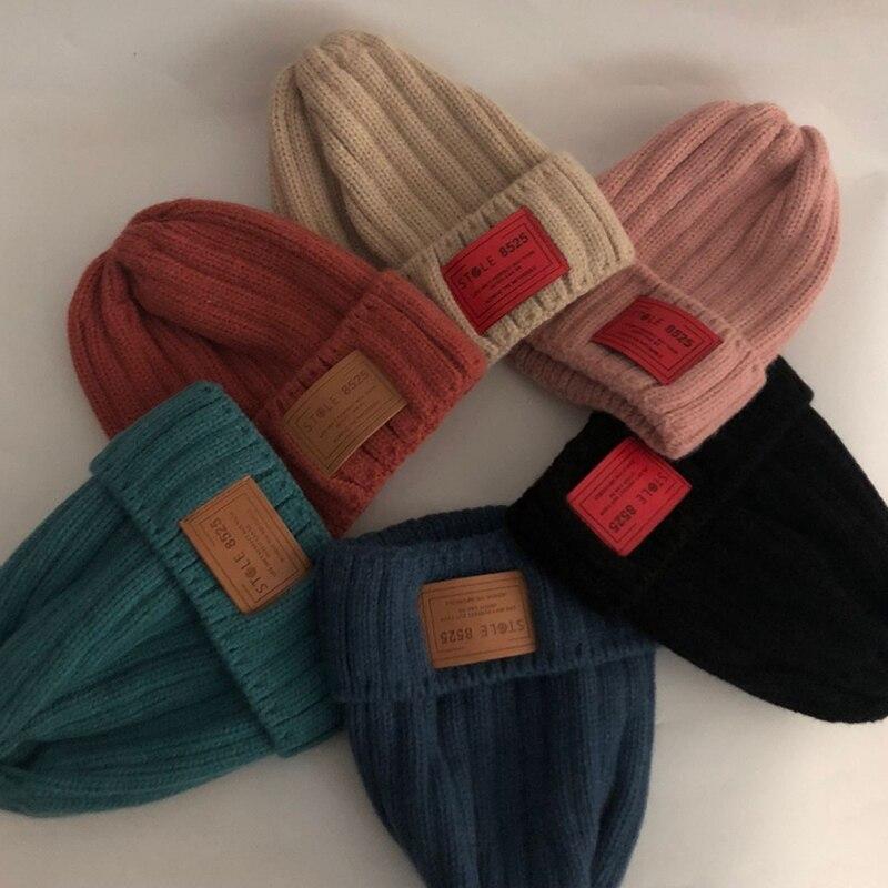 Повседневные новые зимние шапки, однотонные шерстяные теплые облегающие шапки, шапки для женщин, Весенние шапки в стиле хип-хоп, стандартны...